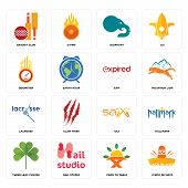 Set Of 16 simple editable icons such as cinco de mayo, farm to table, nail studio, three leaf clover, hallmark, cricket club, odometer, lacrosse, expi can be used for mobile, web UI poster