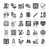 Medical check up, flat glyph icons. Health diagnostics equipment - mri, tomography, glucometer, stethoscope, blood pressure x-ray, blood test. Hospital signs. Solid silhouette pixel perfect 64x64. poster