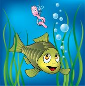 Funny fish and scared worm, vector illustration poster