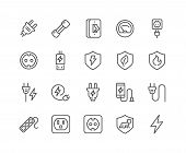 Simple Set of Surge Protector Related Vector Line Icons. Contains such Icons as American European Socket, USB Charge, Child Protection and more. Editable Stroke. 48x48 Pixel Perfect. poster