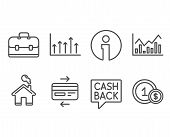 Set of Money transfer, Infochart and Credit card icons. Growth chart, Portfolio and Usd coins signs. Cashback message, Stock exchange, Bank payment. Upper arrows, Business case, Cash payment. Vector poster