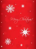 special red Christmas background with white snowflakes poster