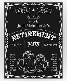 Retirement Party Invitation. Design Template With Glasses Of Beer And Vintage Ornament On Chalkboard