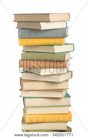 Stack Of Books And Hardcover Books And Textbooks Isolated On White Background.