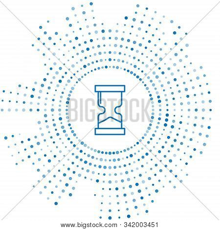 Blue Line Old Hourglass With Flowing Sand Icon Isolated On White Background. Sand Clock Sign. Busine