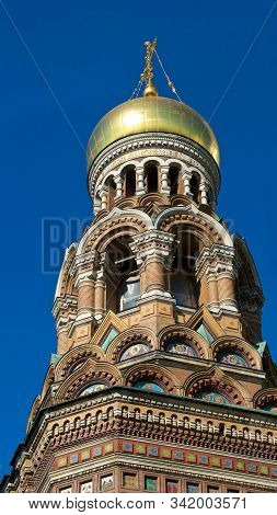 The Dome And Tower Of Church Of The Savior On Spilled Blood In St. Petersburg, Russia