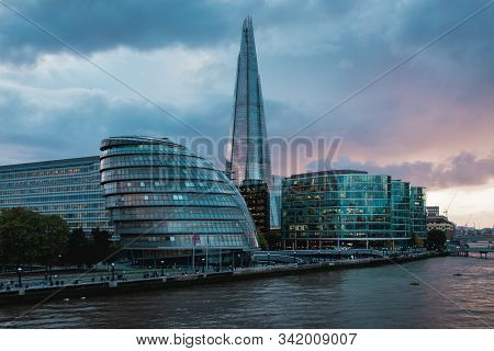 View Of The New City Hall And The Shard Skyscraper In London, Uk