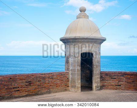 Turret At Castillo San Cristobal In San Juan, Puerto Rico.