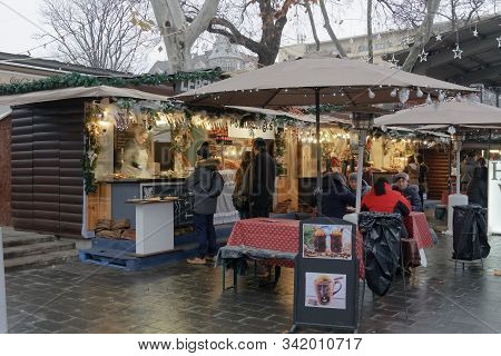 Budapest, Hungary - December 09 2019: Deak Ferenc Square Open Air Christmas Food Market With Crowd &