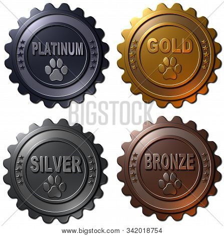 A Set Of Four 3d Rendered Metallic Medals With Dog Paw In Platinum, Gold, Silver And Bronze