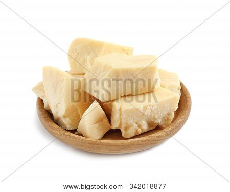 Aromatic Organic Cocoa Butter In Wooden Bowl Isolated On White