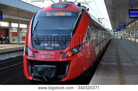 Warsaw,poland. 13 September 2016.warsaw Stadion.suburban Rail Which Offers A View Of Warsaw. Train O