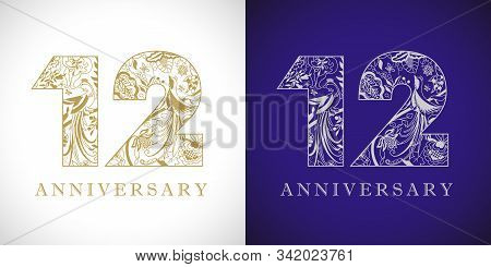 12 Years Old Logotype. 12 Th Anniversary Numbers. Decorative Symbol. Age Congrats With Peacock Birds