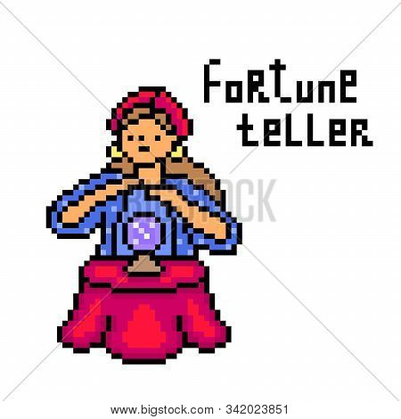 Gypsy Fortune Teller Woman With A Crystal Ball, Pixel Art Character Isolated On White Background. Wi