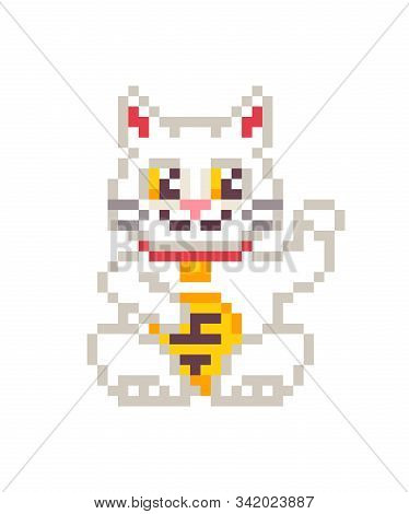 White Maneki Neko Cat Waving And Holding A Coin, Pixel Art Character Isolated On White Background. 8