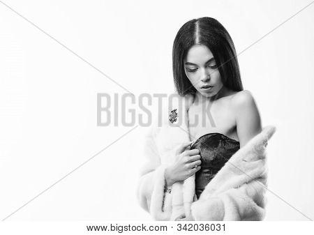 Luxurious Fur. Girl Posing Fur Coat. Female With Makeup Wear Mink Beige Fur Coat. Woman Wear Velvet