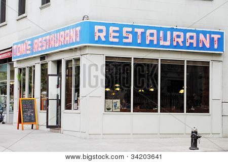 NEW YORK CITY, USA - JUNE 10: Tom's Restaurant. Its exterior was used as a stand-in for the fictional Monk's Cafe in the popular television sitcom Seinfeld. June 10, 2012 in New York City, USA