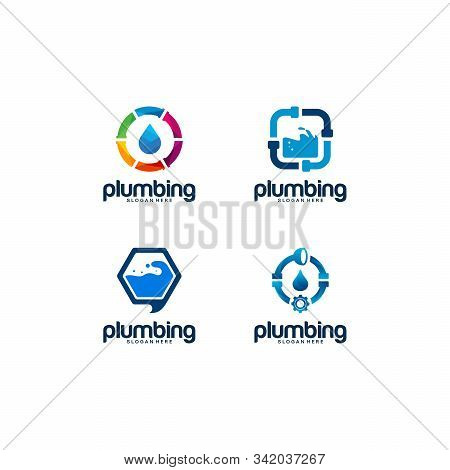 Set Of Plumb Service Logo Designs Template With Water Symbol, Plumbing Logo Designs Vector