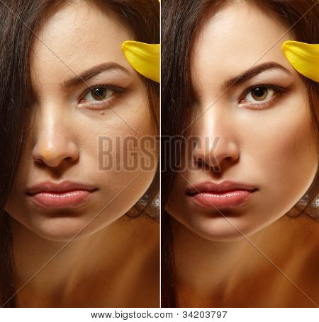 Power of retouch - face of beautiful young woman before and after