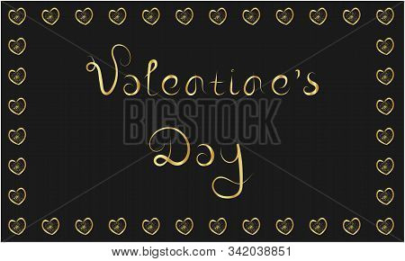 Valentine's Day Golden Happy Love Greeting Card On Dark Black Background. Stock Vector Illustration.