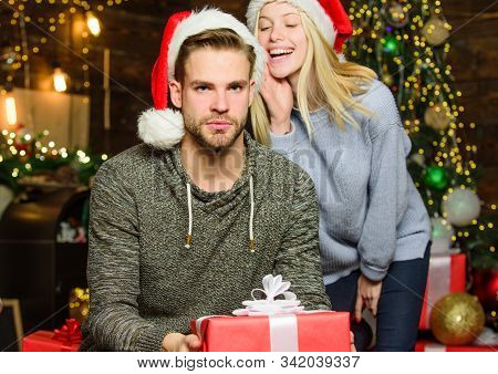 Holiday Celebrated Around World. Boyfriend Girlfriend Family Celebrate Winter Holiday. Giving Gift.