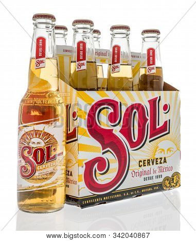 Winneconne, Wi - 28 December 2019 : A Six Pack Of Sol Beer From Mexico On An Isolated Background