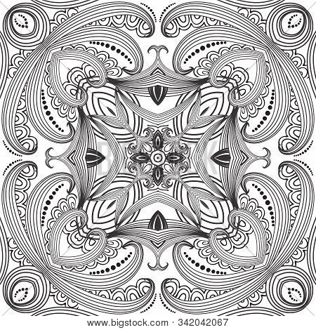 Floral Line Art Black And White Vector Seamless Pattern. Ornamental Monochrome Background. Intricate