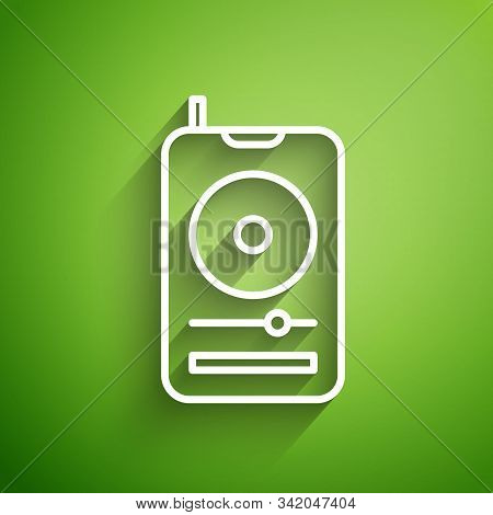 White Line Music Player Icon Isolated On Green Background. Portable Music Device. Vector Illustratio