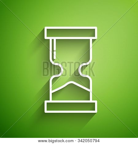 White Line Old Hourglass With Flowing Sand Icon Isolated On Green Background. Sand Clock Sign. Busin