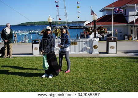 Mackinac Island, Michigan / United States - June 11, 2018: Boaters May Dock Their Boats And Yachts A