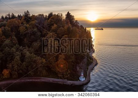 Seawall, Stanley Park, Downtown Vancouver, Bc, Canada. Aerial View Of A Famous Park On The West Coas