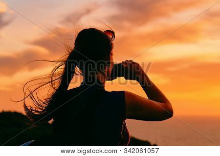 Sunrise Or Sunset And Young Girl And Capo Ferro In Costa Smeralda
