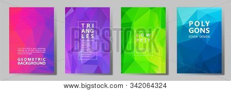 Facet Low Poly Simple Brochure Covers Vector Graphic Design Set. Diamond Texture Low Poly Patterns.