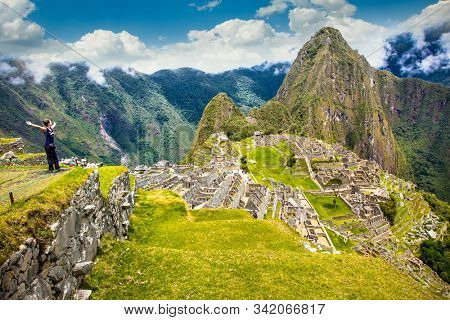 Machu Picchu Pueblo,  Peru - Jan 8, 2019:   Panoramic view on Ancient city of Machu Picchu in Peru. South America.