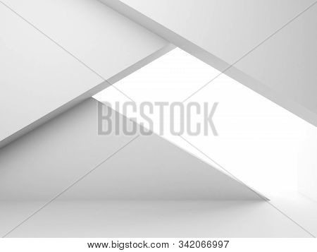 Abstract Empty White Interior With Geometric Installation, Minimal Architectural Background, 3d Rend