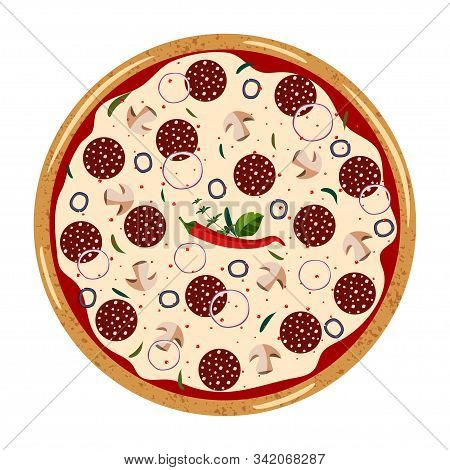Pepperoni Whole Pizza Top View With Different Ingredients: Salami, Mushroom, Shallot, Olive, Chili P