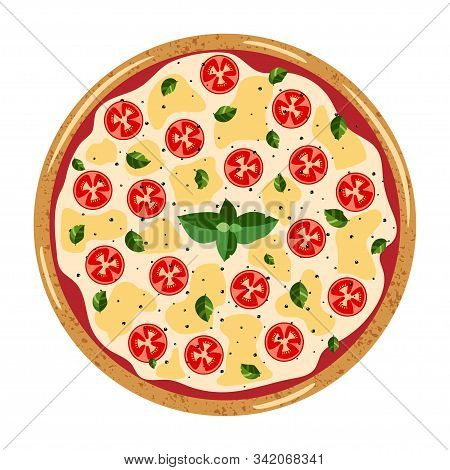 Margarita Whole Pizza Top View With Different Ingredients: Tomato, Mozzarella, Basil. Vector Illustr