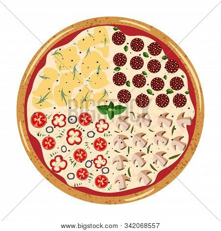Four Seasons Whole Pizza Top View With Different Ingredients: Mushroom, Mozzarella, Salami, Pepper,