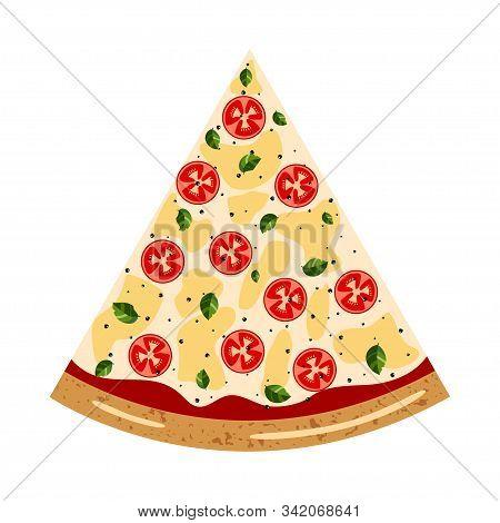 Margarita Slice Pizza Top View With Different Ingredients: Tomato, Mozzarella, Basil. Vector Illustr