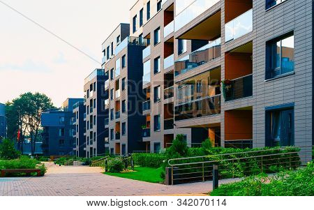 Modern Residential Apartment House Home Building Complex And Outdoor Facility Reflex