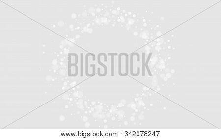Gray Snowfall Merry Design. Festive Ice Wallpaper. Light Design. Gray Sky Xmas Card. Snowfall Vector