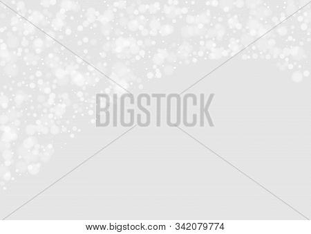 Gray Snowfall Vector Card. Winter Snowfall Card. Fantasy Texture. Grey Sky Abstract Design. Snowfall