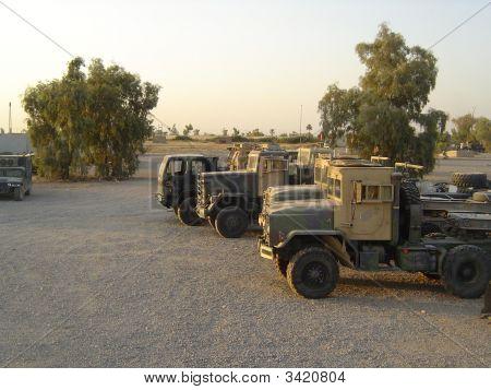 Trucks In The Motor Pool