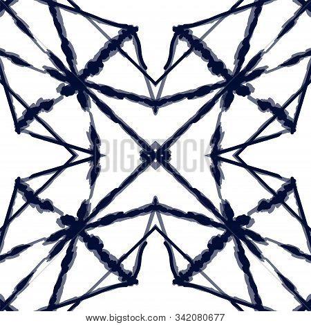 Indigo Carpet Vector Seamless Pattern. Blue Retro Striped African Wallpaper. Ocean Line Stripe Textu