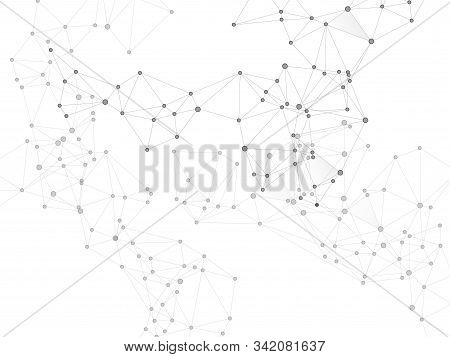 Social Media Communication Digital Concept. Network Nodes Greyscale Plexus Background. Chemical Form