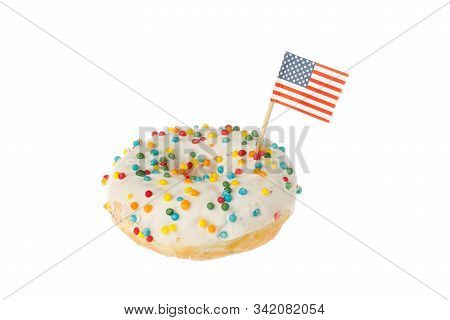 Glazed Colorful Dount With The Flag Of The Usa Isolated On White Background.