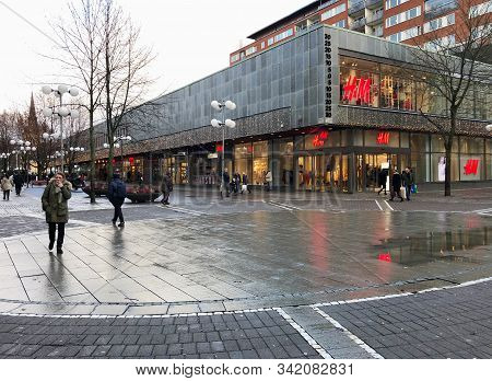 Sodertalje, Sweden - December 7, 2019. View Of The Pedestrian Street Storgatan In The City Center.
