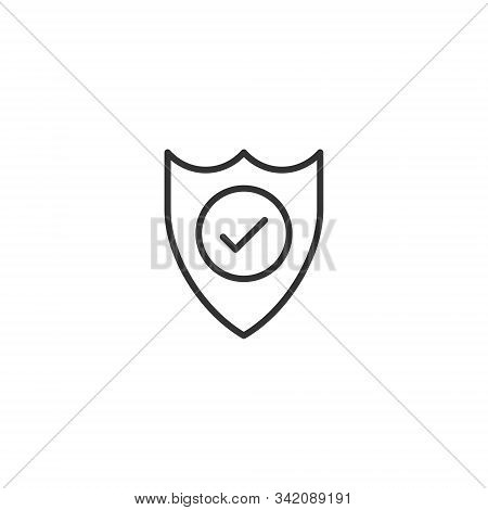 Shield With Check Mark Icon In Flat Style. Protect Vector Illustration On White Isolated Background.
