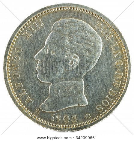 Ancient Spanish Silver Coin Of The King Alfonso Xiii. 1 Peseta. 1903, 19 03 In The Stars. Obverse.