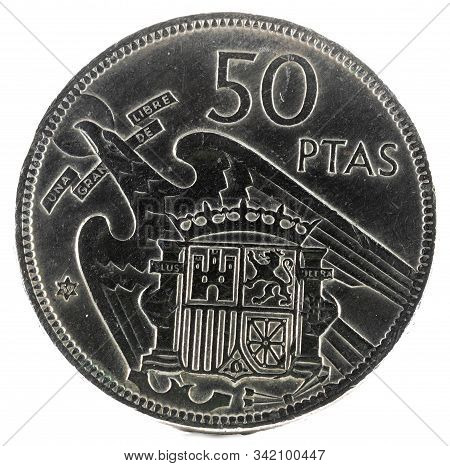 Old Spanish Coin Of 50 Pesetas, Francisco Franco. Year 1957, 59 In The Star. Reverse.